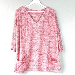 Woman Within Pink/White SS Top Size 18/20
